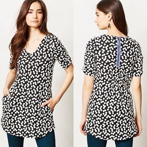 •DELETTA• Anthro Black & White Polka Dot Tunic Top